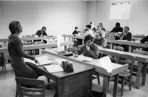 Professor teaching a law class.