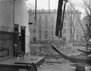 A classroom during the deconstruction of the original Law Building.