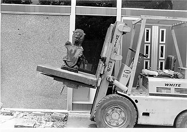 Law School gargoyle on loader