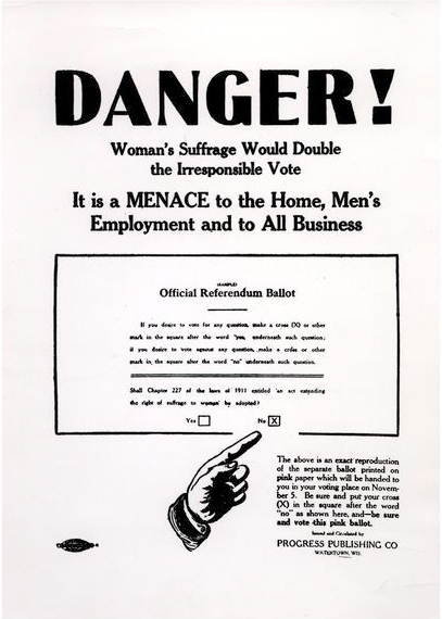 historic poster condemning women's suffrage